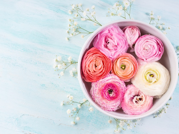 Primavera cor-de-rosa bonita do ranúnculo. casamento do dia da mãe da mulher. arranjo de flores elegante de férias