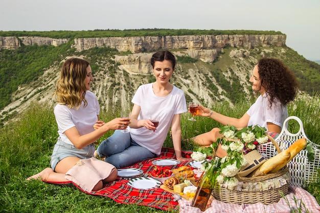 Primavera e verão lazer na natureza com comida deliciosa e vinho