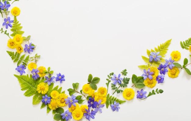 Primavera flores amarelas e violetas sobre fundo de papel