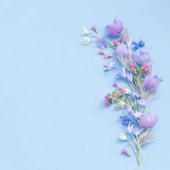 Primavera flores sobre fundo azul