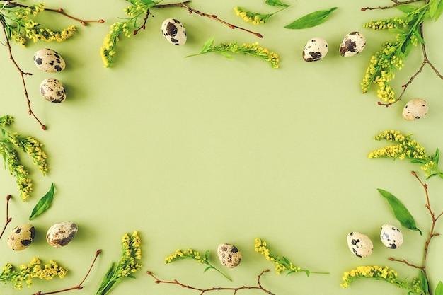 Primavera páscoa floral frame. galhos de árvores naturais, flores amarelas e ovos de codorna sobre fundo verde, com espaço de cópia.