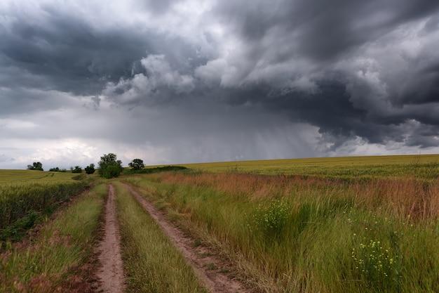 Primavera, tempestade de verão, estrada rural entre campos