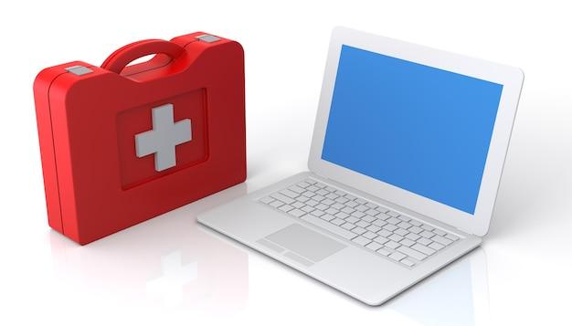 Primeiros socorros do laptop. isolado no fundo branco.