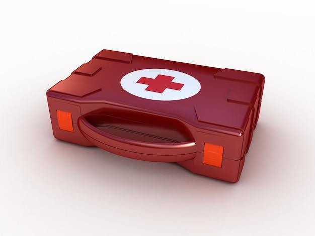 Primeiros socorros. kit médico em branco isolado. ilustração 3d