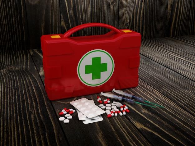 Primeiros socorros. kit médico em madeira isolada. ilustração 3d