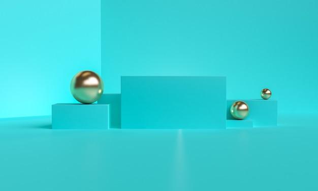 Primitivo minimalista fundo abstrato geométrico azul, ilustração na moda elegante pódio, carrinho, vitrine em cor pastel para produto premium. 3d rendem.