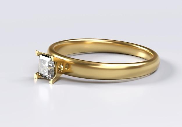 Princess cut diamond ring colocado no fundo branco, renderização em 3d.