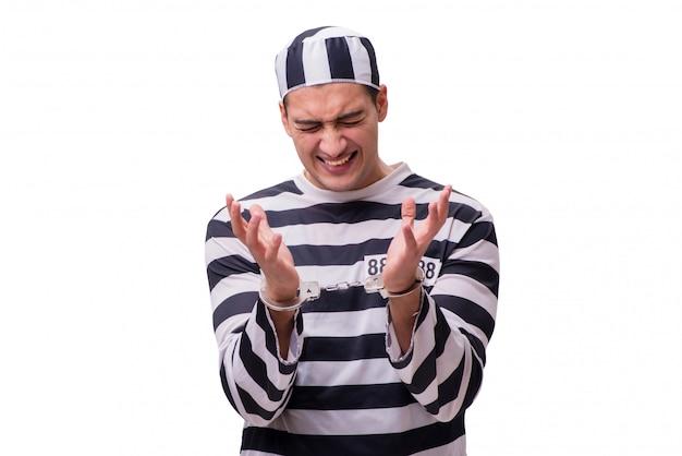 Prisioneiro do homem isolado no fundo branco