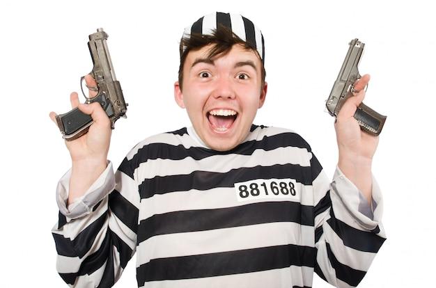 Prisioneiro isolado no branco