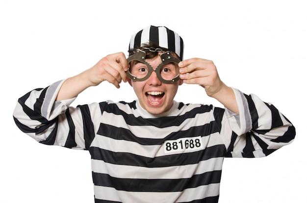 Prisioneiro isolado no fundo branco