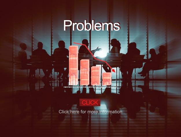 Problemas, deflação, deflação, depressão, falência, conceito