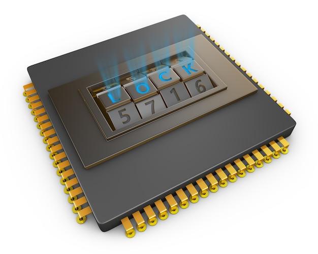 Processador com fechadura de combinação.