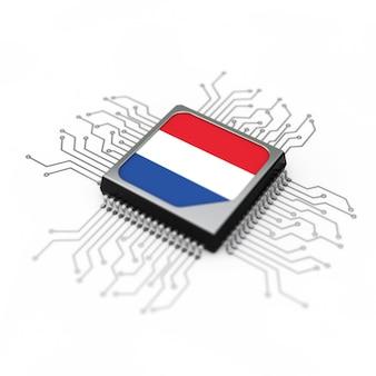 Processador de cpu microchip com circuito e a bandeira da holanda em um fundo branco. renderização 3d
