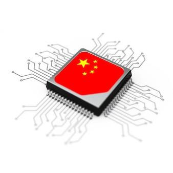 Processador de cpu microchip com circuito e bandeira da china em um fundo branco. renderização 3d