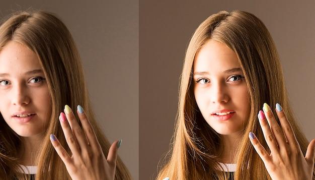 Processamento antes e depois. mulher antes e depois do retoque. comparação de retratos antes e depois do tratamento da pele. decomposição de duas frequências no photoshop. passagem alta invertida