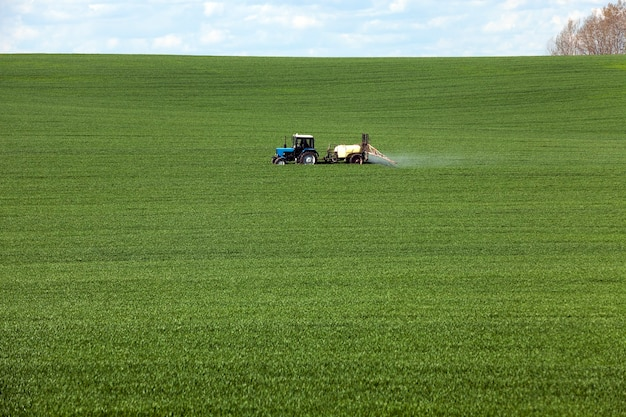 Processamento de trator de cereal fotografado no campo agrícola durante o processamento de pesticidas