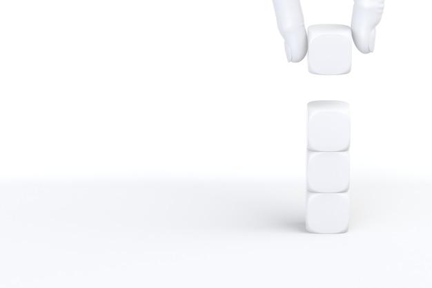 Processo de sucesso de crescimento de conceito de negócio, organizando o empilhamento de cubos em fundo branco, copie o espaço. renderização 3d