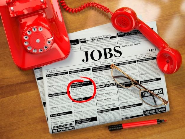 Procurando um emprego. vagas de emprego. jornal com propagandas, óculos e celular. 3d