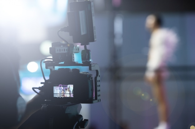 Produção de vídeo camera social network live filming