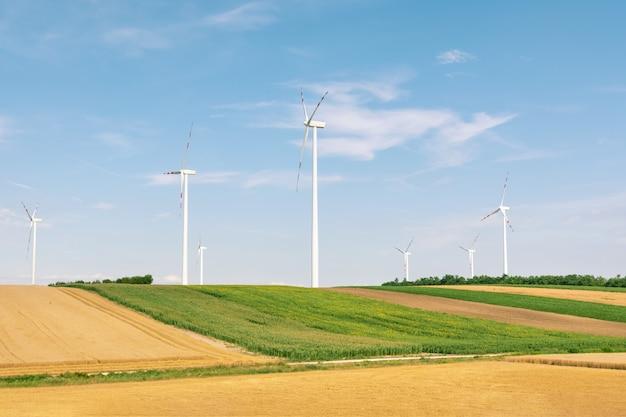 Produção ecológica de eletricidade usando um parque eólico.