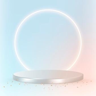 Produto 3d de luxo em prata sobre fundo azul pastel