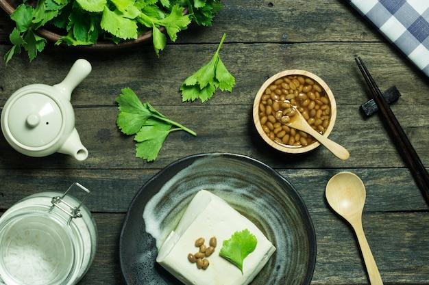 Produto alimentar tofu de antioxidante alimentar saudável de soja e aipo