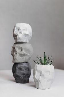 Produto concreto do conceito do crânio dos vasos de flores elegantes. decoração de casa.