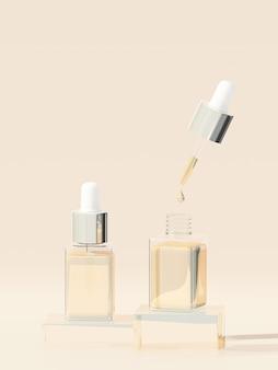 Produto cosmético com fundo marrom pastel. renderização 3d. conceito mínimo cosmético