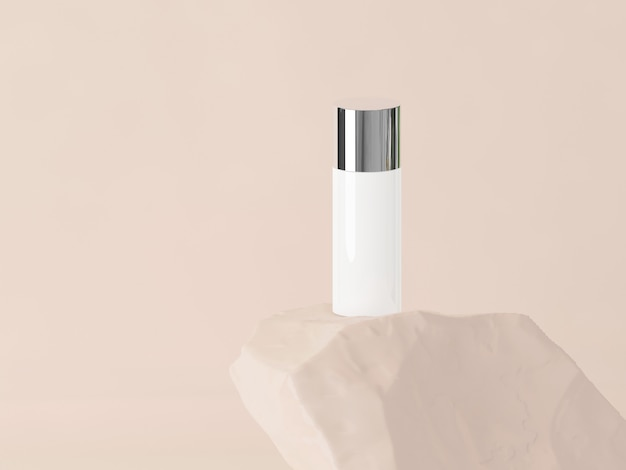 Produto cosmético na pedra com fundo marrom pastel. renderização 3d. conceito mínimo cosmético