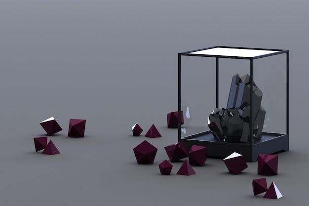 Produto da formação mineral negra, minerais, quartzo, gemas, diamantes. renderização 3d