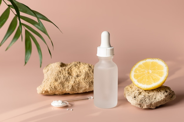 Produto de beleza orgânico natural com vitamina c conceito de beleza para a pele