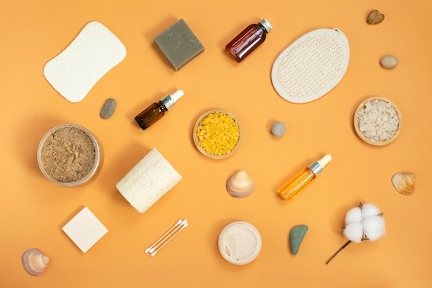 Produtos cosméticos para cuidados com o corpo nutural. conceito de beleza e spa.
