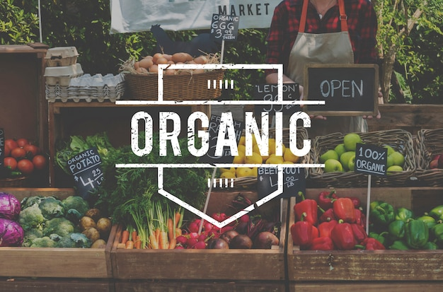 Produtos de agricultores orgânicos frescos de alimentos saudáveis