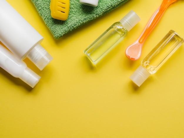 Produtos de banho plana leigos com espaço da cópia