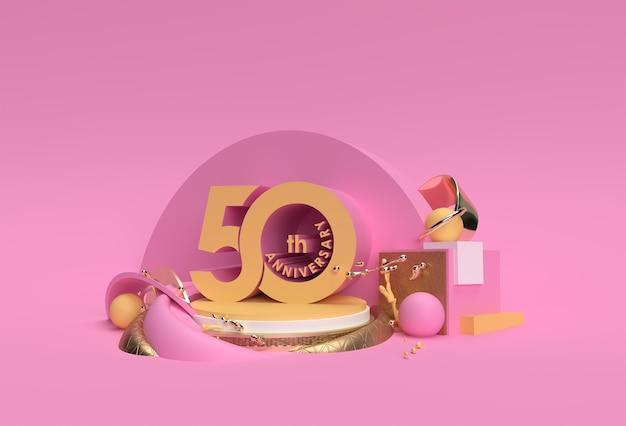 Produtos de exibição de texto de celebração de aniversário de 50 anos que anunciam design de ilustração 3d.