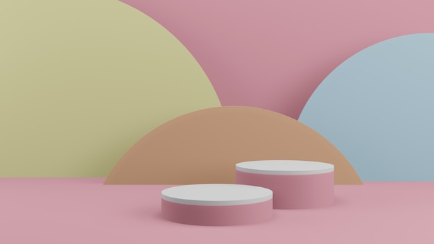 Produtos de fundo 3d cena de pódio em cor pastel mínima com pedestal bege, renderização 3d