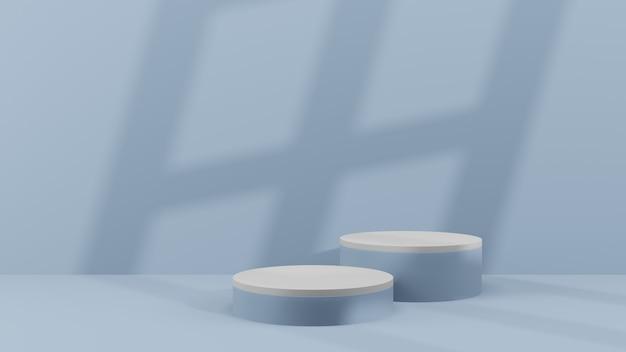 Produtos de fundo 3d cena mínima de pódio com pedestal bege, renderização 3d