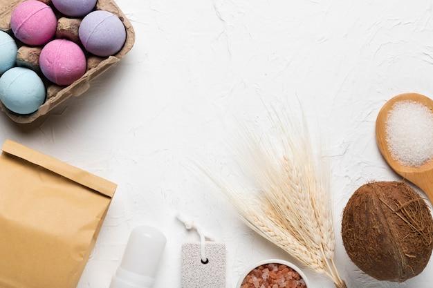 Produtos de higiene do spa para cuidados com a pele