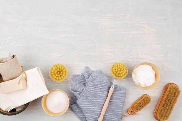 Produtos de limpeza domésticos reutilizáveis orgânicos naturais. zero desperdício, ecológico, ecológico