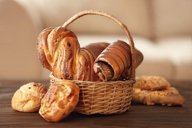 Produtos de padaria frescos, closeup