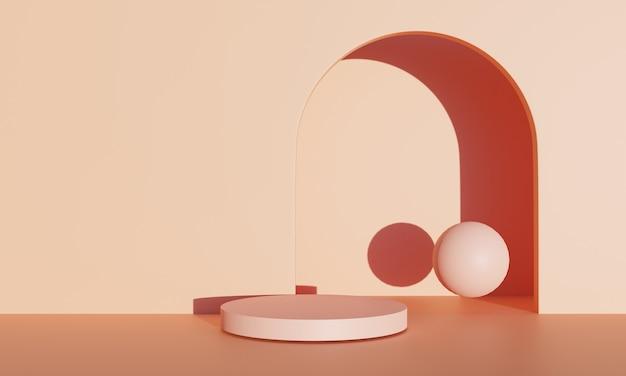 Produtos de palco laranja com renderização em 3d e fundo laranja ao ar livre podem ser usados para cosméticos ou qualquer produto de design