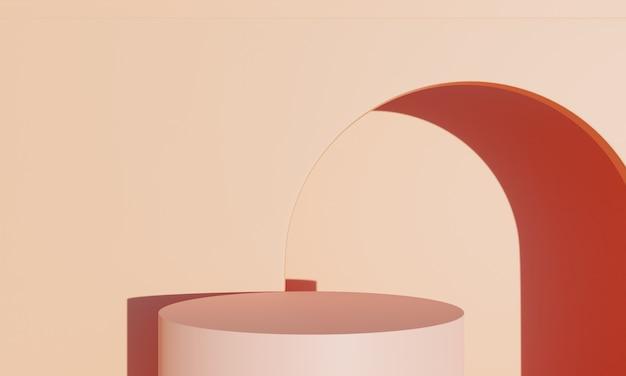 Produtos de palco laranja de renderização em 3d e fundo laranja de verão ao ar livre podem ser usados como fundo para cosméticos ou qualquer coisa de produto