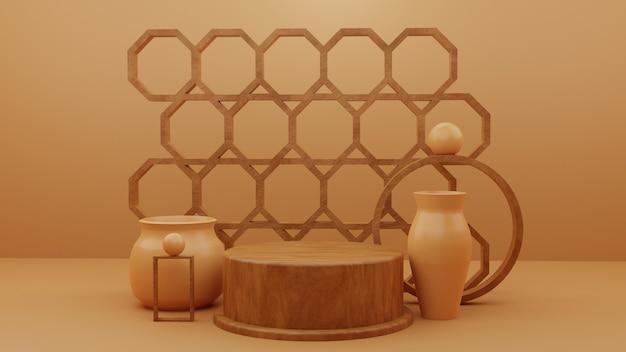 Produtos de pedestal de suporte de pódio de madeira com objetos abstratos