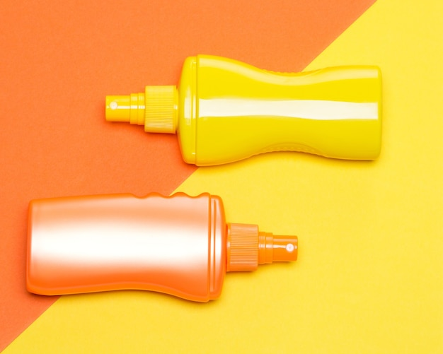 Produtos de proteção solar. cosméticos de proteção solar. loção bronzeadora. conceito de bronzeamento seguro
