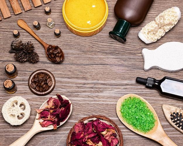 Produtos e acessórios de spa e tratamento de celulite cosméticos naturais para a pele