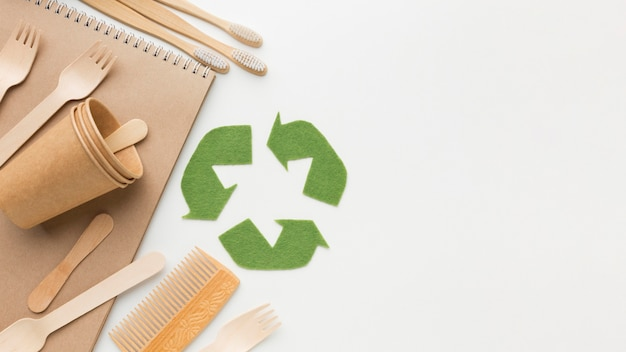 Produtos ecológicos com cópia-espaço