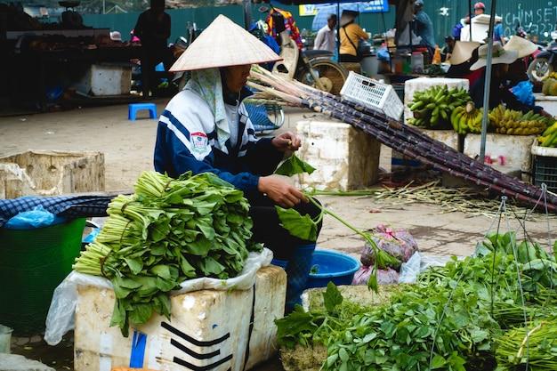 Produtos frescos no mercado asiático