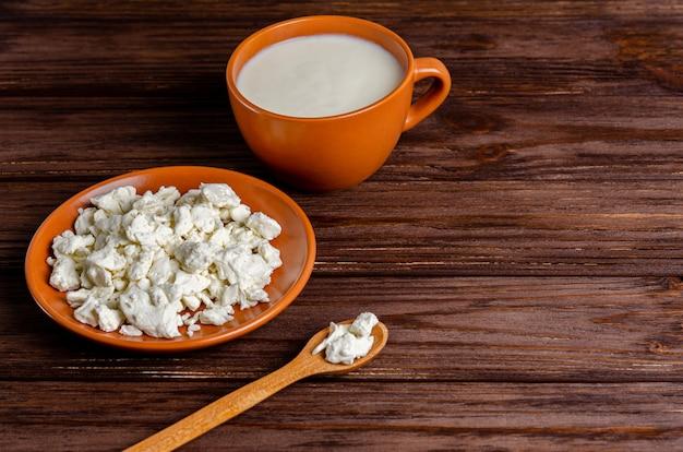 Produtos lácteos fermentados caseiros - kefir, queijo cottage com espaço para texto