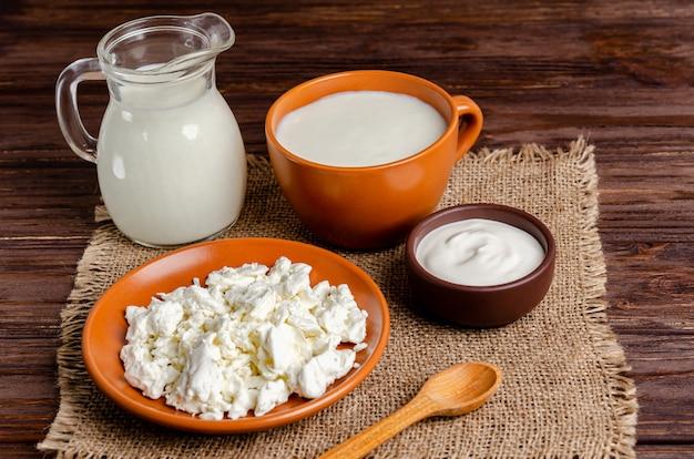 Produtos lácteos fermentados caseiros - kefir, queijo cottage