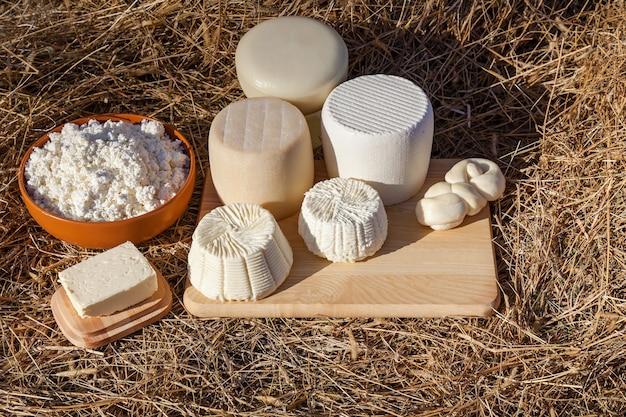 Produtos lácteos, queijo e manteiga sobre um fundo de feno vários tipos de queijo cottage.